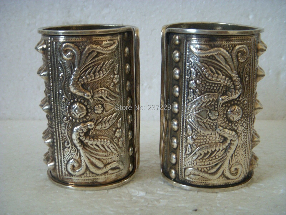 Gros ^ ^ exquis belle Tibet argent hommes Bracelet