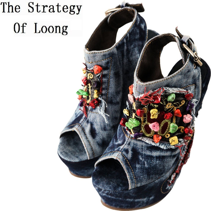 2017 New Summer Women Wedge High Heel Chunky Heel  Open The Toe Buckle Fashion Denim Sandals Shoes Size 34-40 SXQ0709 t strap round toe women lolita wedge high heel shoes new 2017 side open japanese style wedges with buckle straps free shipping