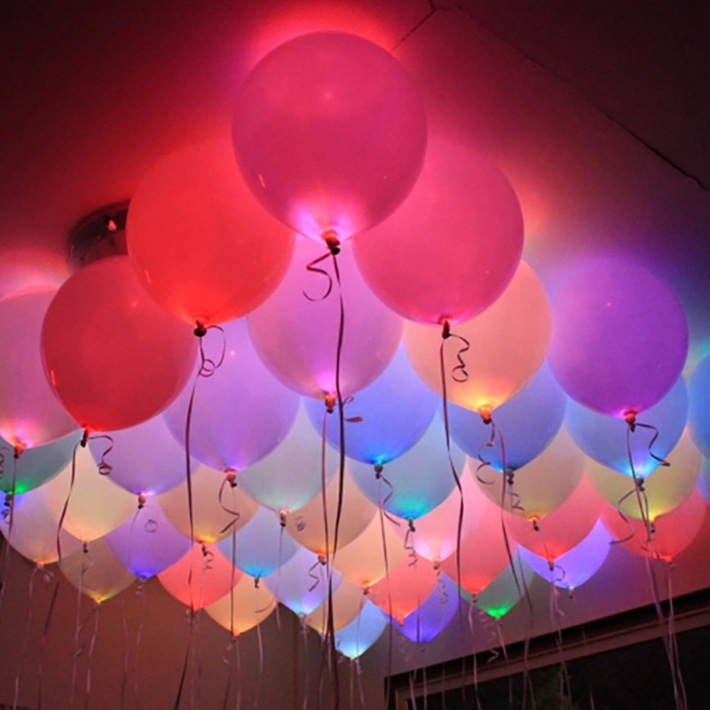 10Pcs Mini Colorful LED Light Lamp Bulbs LED Balloon Glow Lights Birthday Wedding Bride Garden Holiday Home Party Decoration