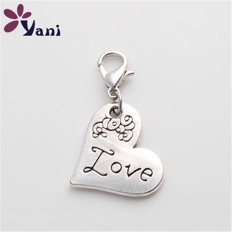 093542c3b92b 20 unids lote plata antigua al por mayor Amuletos colgante corazón amor  Amuletos con corchete de langosta para la fabricación de la joyería