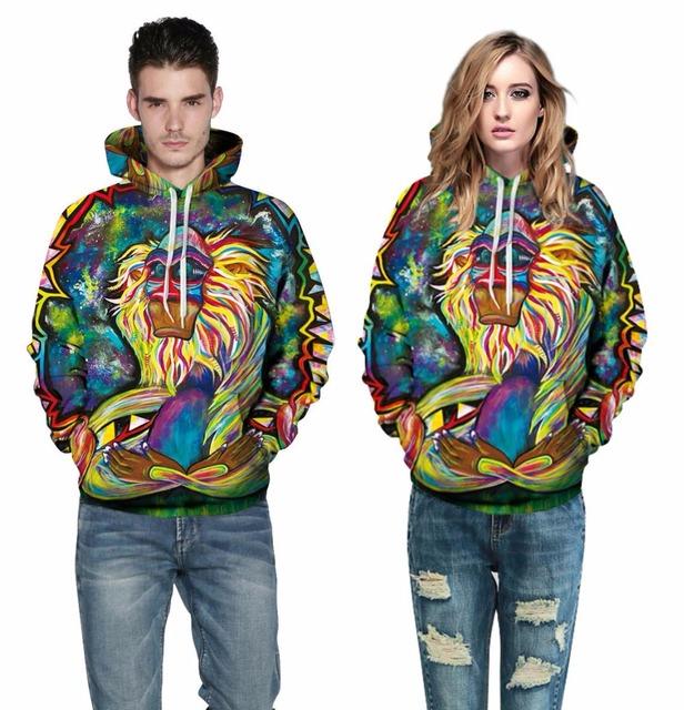 Mr.1991INC Spring Autumn Thin Hooded Hoodies Men/women 3d Sweatshirts With Cap Print Wizard Clown Oil Printing Hoody Hoodies