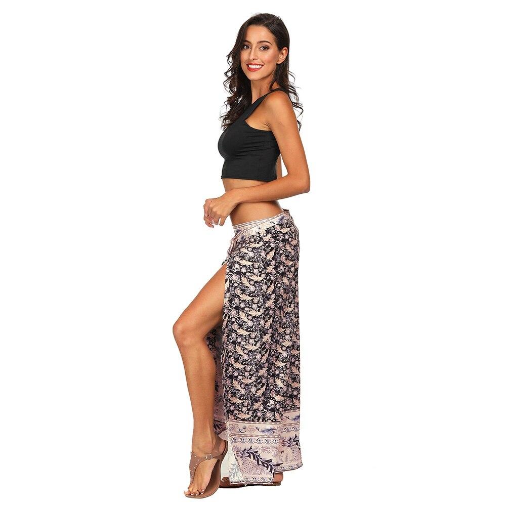 Indian Thailand 3D Print Floral Pattern Print Women Bandage Wide Leg High Split Summer Spring Elastic Waist Long Loose Trousers
