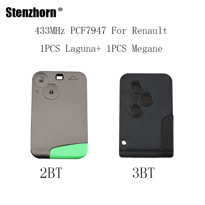 Stenzhorn 2pcs/lot Smart Remote Key 433 MHz PCF7947 chip 3Buttons For Renault megane card key 2Buttons For Renault Laguna keys