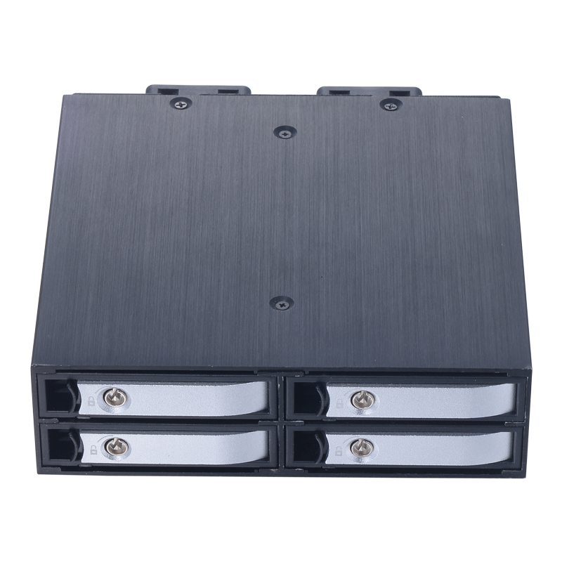 uneatop sliver color 4*2.5 inch trayless HDD/SSD for 5.25in optical space mobile rack support 7-15mm thickness HDD/SSD with lock 4 bay 2 5 inch internal sata hdd ssd aluminum mobile rack with hot swap support 7mm 9 5mm 15mm hdd ssd enclosure with lock