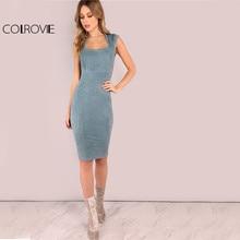 Colrovie замши Queen Anne Midi Bodycon платье элегантные дамы Офис носить тонкие платья лето оболочка Кепки рукавами