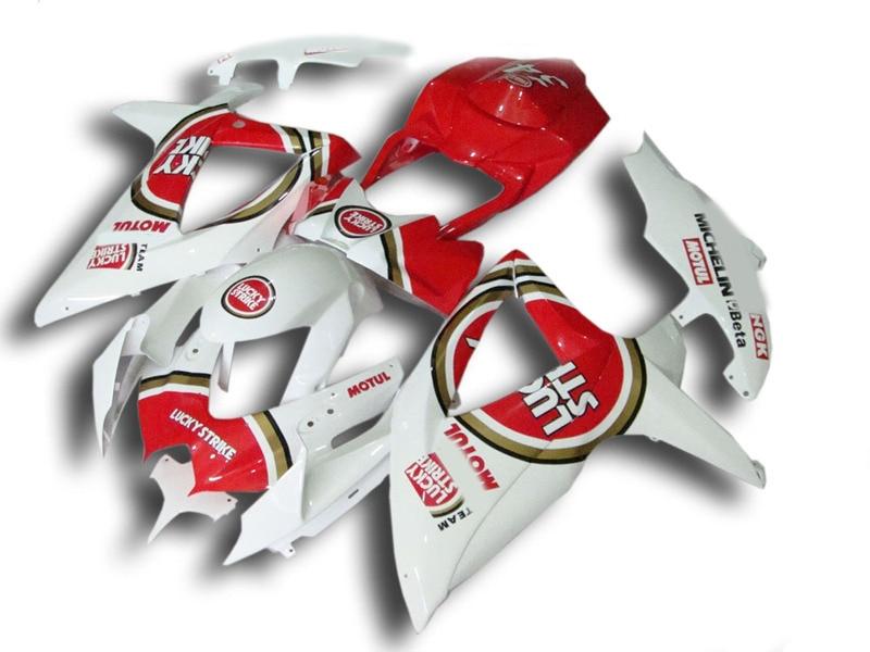 Injection mold Fairing Kit for SUZUKI GSXR 600 750 K8 08 09 GSXR600 GSXR750 2008 2009 ABS Red white Fairings set+7gifts SE09