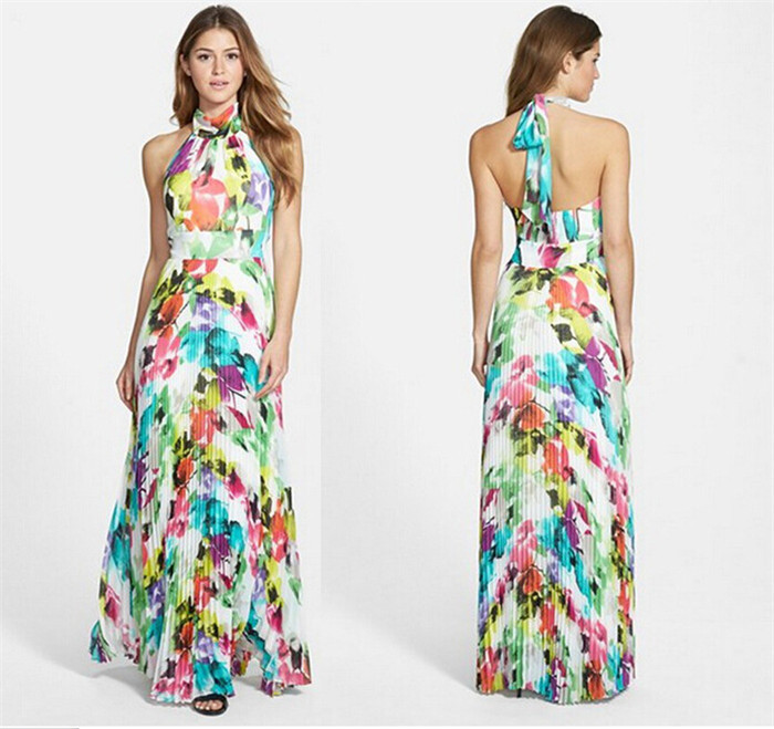 2015 Fashion Summer Women Long Maxi Dress Casual O Neck Sleeveless Colorful  Sexy Party Dresses Women Long Dress vestidos robe-in Dresses from Women s … d106e3630