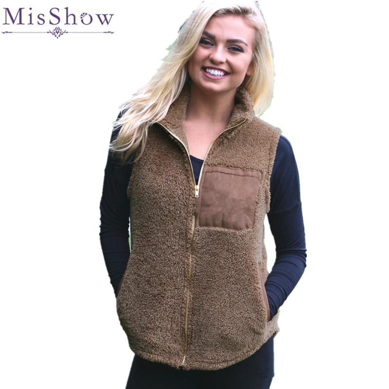 MisShow 2019 Spring Casual Fleece Women   Jacket   Zipper Front Stand Collar   Basic     Jacket   Coat Women Outwear