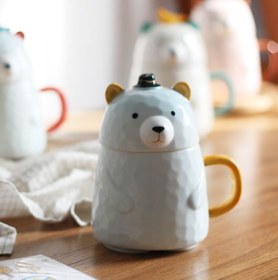 Cute Bear Ceramic Cup With Cover Cartoon Big Belly Office