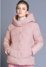 ICEbear Women's Winter Parkas 2018 High Hooded Collar Cotton Padded Jackets Polyester Zippers Thickening Short Coat GWD18088D