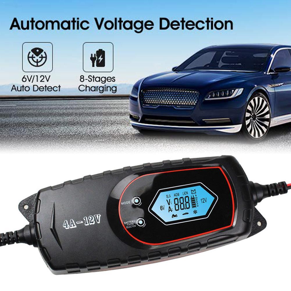 Chargeur automatique de batterie de voiture 100 V à 240 V à 12 V 4A puissance rapide intelligente chargeant plusieurs Protections écran LCD numérique