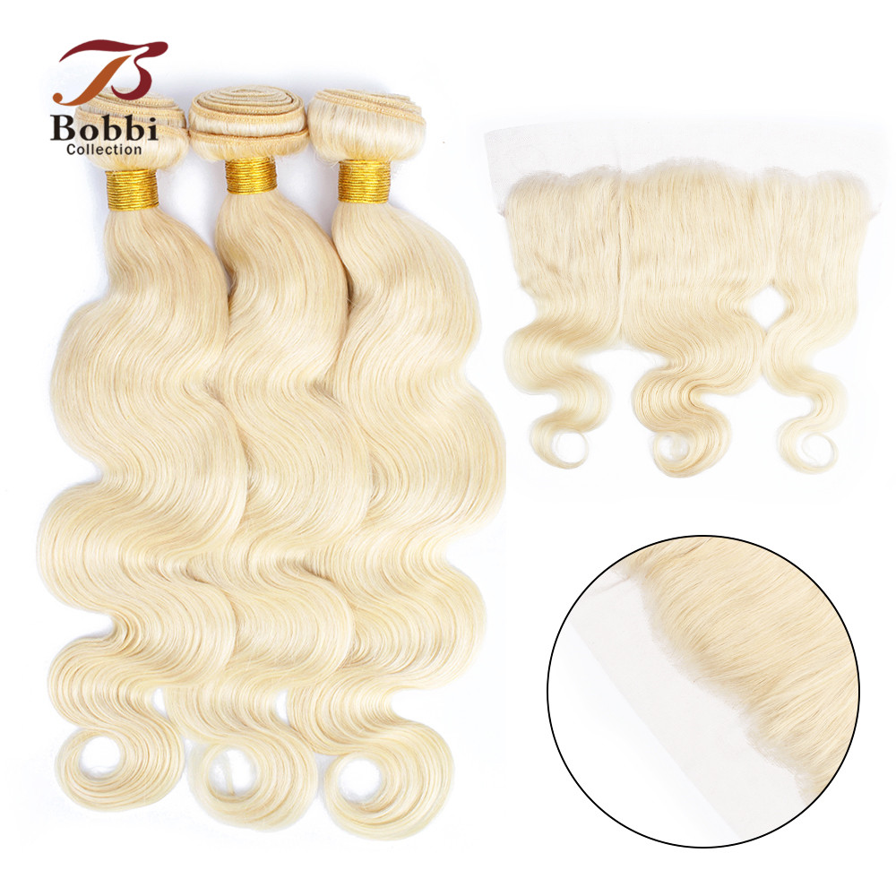 BOBBI COLLECTION Platinum Blonde 613 Bundles With Frontal Brazilian Body Wave Remy Human Hair Weave 2