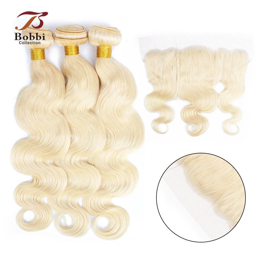BOBBI COLLECTION Platinum Blonde 613 Bundles With Frontal Brazilian Body Wave Remy Human Hair Weave 2/3 Bundles with Closure