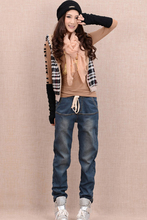 26 32 Autumn winter plus velvet thicken elastic waist denim jeans female harem pants plus size