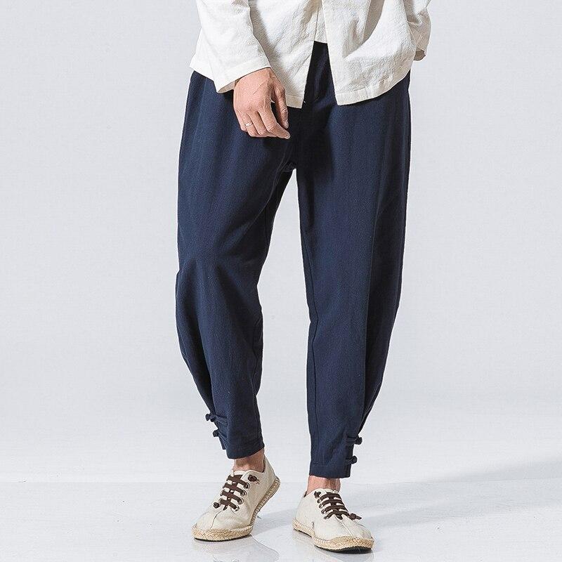 2018 Frühling Harem Hosen Männer Leinen Hosen Elastische Taille Marke Kleidung Mann Jogger Hosen Hiphop Hosen Traditionellen Y1096