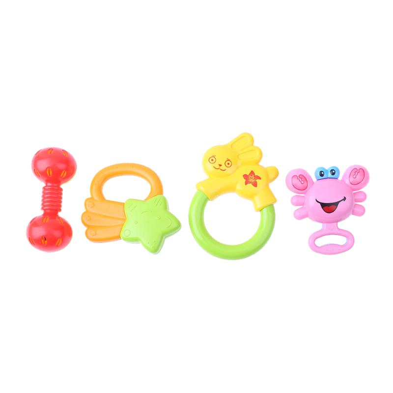 4pcs Cute Fun Plastic Rattles Baby Early Educational Develop Baby Intelligence Training Grasping Ability Toy Newborns Gifts