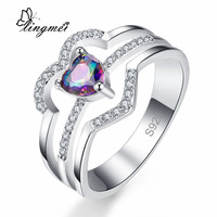 lingmei New Arrival Love Heart Multi-Color & White Silver Color Ring Size 6 7 8 9 Classic Style Beautiful Women Jewelry Party