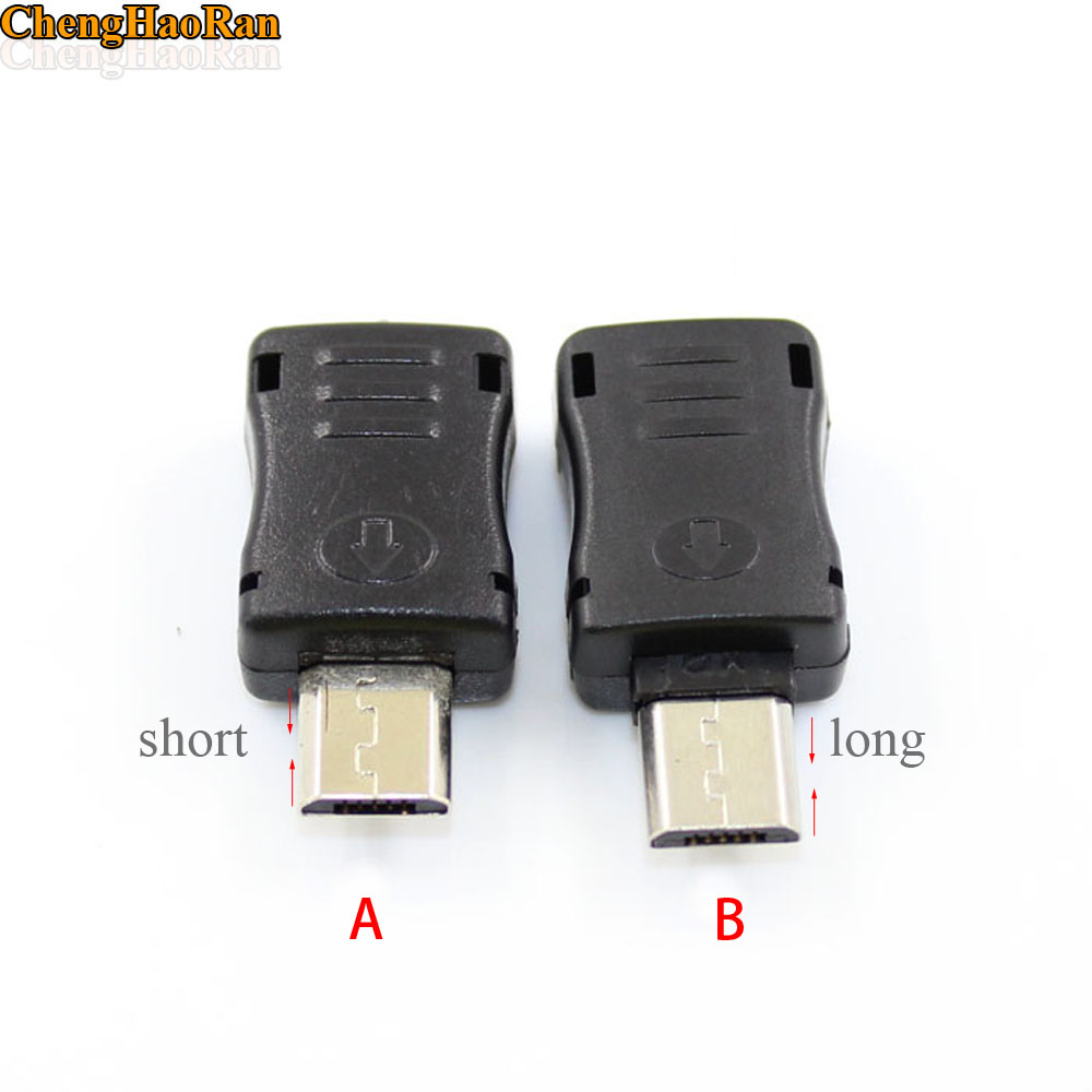 ChengHaoRan 10pcs Short long 2 type A / B Micro USB 5 Pin T Port Male Plug Socket Connector&Plastic Cover For DIY