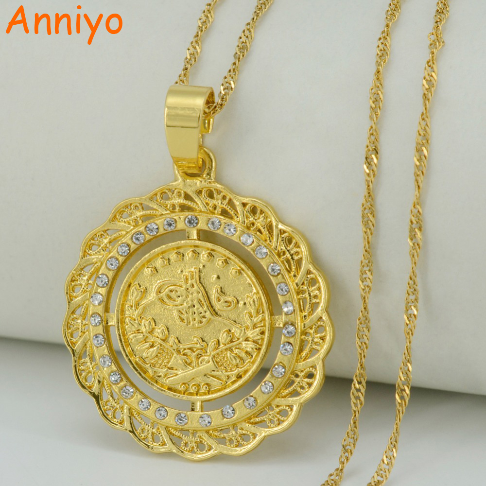 Anniyo 34CM Turke Coin Pendant Necklaces for Women Gold Color