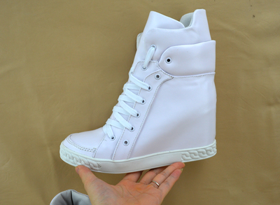 Women Hot Selling Casual Lace-up Shoes Height Increasing Ankle Boots White Nude Red High Top Sneaker Outdoor Wedge Booties new arrival women high top lace up denim casual shoes handmade sewing big rhinestone canvas ankle boots height increasing shoes