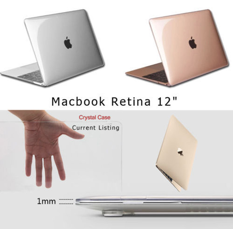 Transparent Crystal Plastic Hard Clear Laptop Shell Case Cover Skin For Apple New MacBook 12 Retina