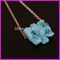 1pc Lot New Fashion Green Geode Stone Pendant Three Free Form Gem Stone Point Female Sexy