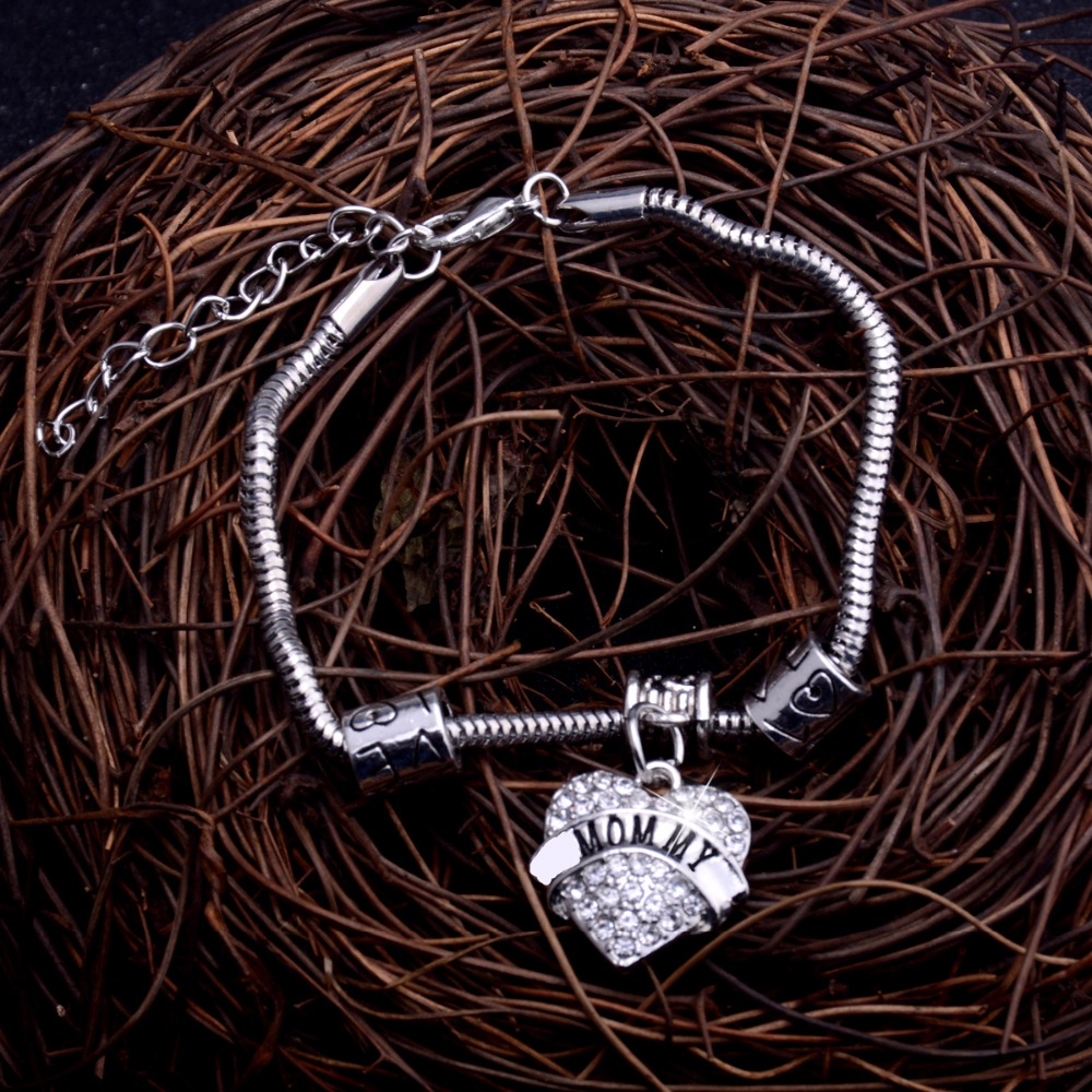 Trendy Mommy Crystal Heart Bracelet Family Gifts Mothers Mom Bracelets Women Mother Bangles Charm Jewelry Mothers Day Presents