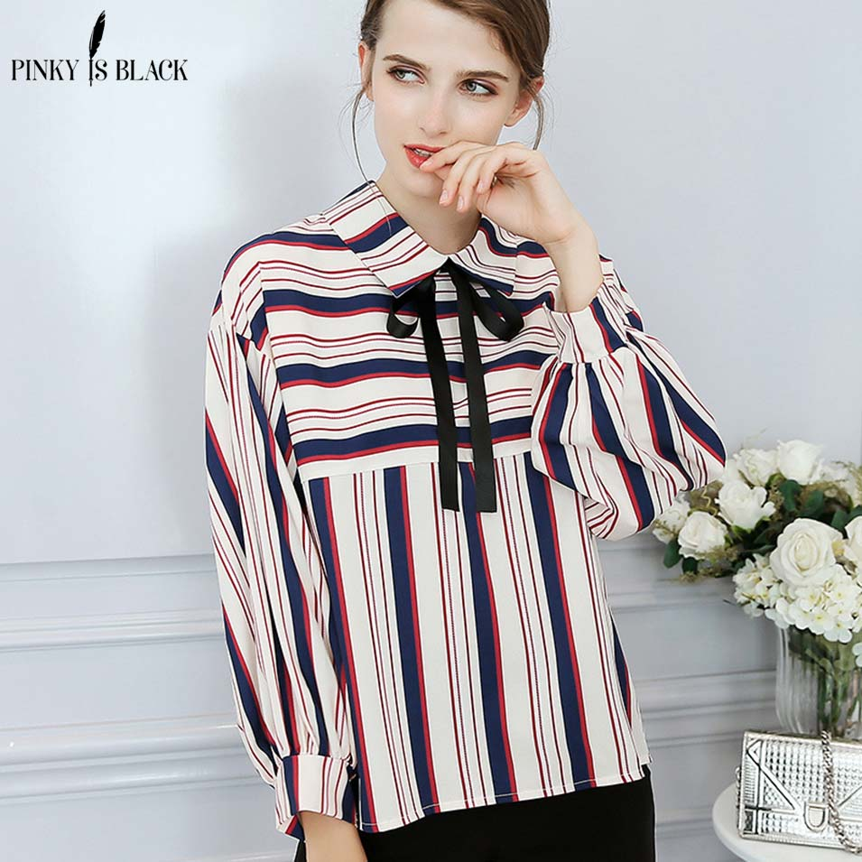 Pinky Is Black Striped Mixed Color Shirt Women Turn-down Collar Tied Neck Long Sleeve Women Top Chiffon Blouse 2018 Casual blusa