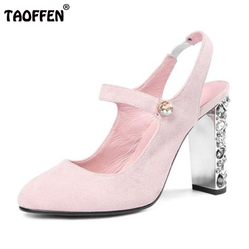 TAOFFEN Size 34-43 Vintage Women Real Genuine Leather High Heel Sandals Beading Round Toe Thick Heel Sandals Women Summer Shoes