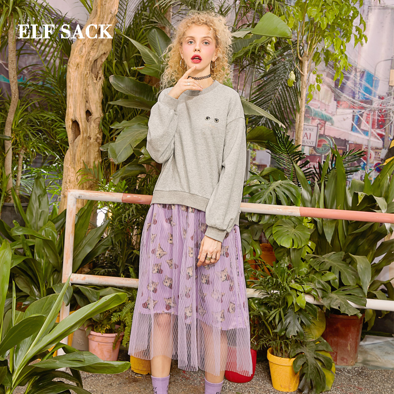 ELF SACK 2019 Spring New Cotton Woman Dress Vintage Full Natural A line Women Dress O