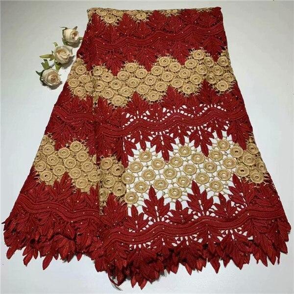 Vendita calda Africano del ricamo tessuto di Pizzo cavo per il vestito, di alta qualità Solubile In Acqua Pizzo materiale ZQW34 (5yds/lot)-in Pizzo da Casa e giardino su  Gruppo 1