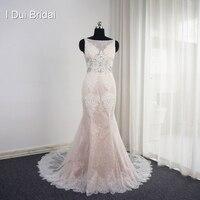 أكمام حورية استحى فساتين زفاف appliqued الظهر تصميم فريد مثير ثوب الزفاف جودة عالية