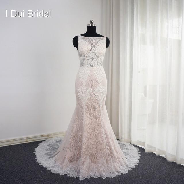 Sleeveless Mermaid Blush Wedding Dresses Appliqued Low Back Unique ...