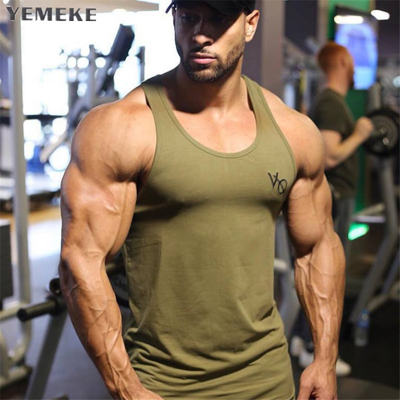 YEMEKE 2018 Brand mens sleeveless vest Summer men   Tank     Tops   Clothing Bodybuilding Undershirt Casual Fitness   tank     tops   tees
