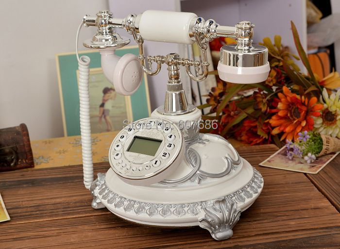 White Reproduction Retro Phone Resin Metal Corded