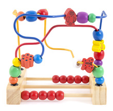 Children Kids Baby Colorful Wooden Mini Around Beads fruit birds and flowers move round the pearl Educational Toy
