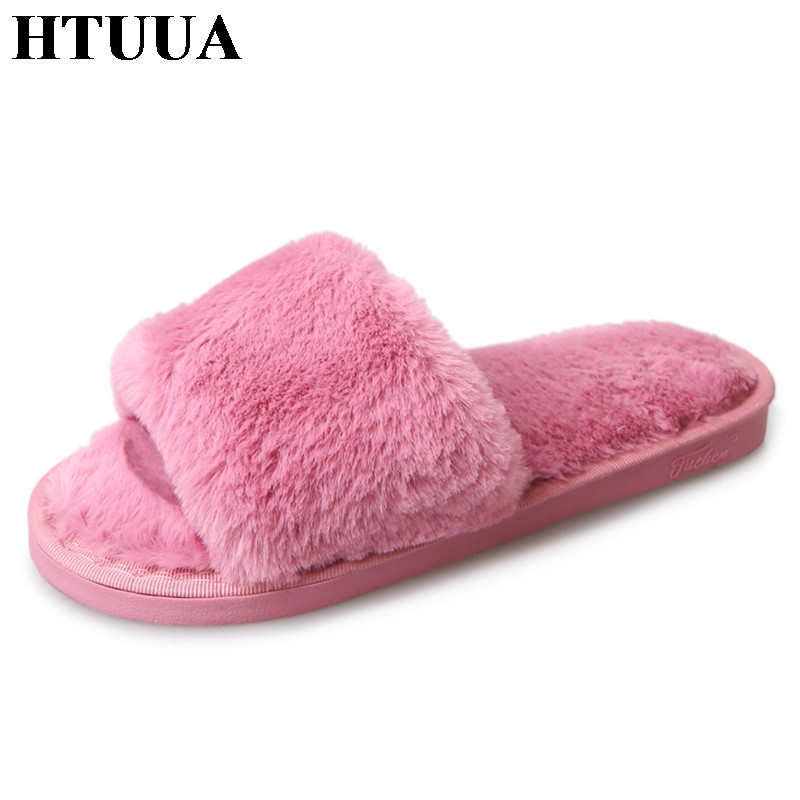 HTUUA Autumn Winter Women Home Slippers Outdoor and indoor Bedroom House Solid Soft Bottom Plush Warm Fur Slippers Flats SX475