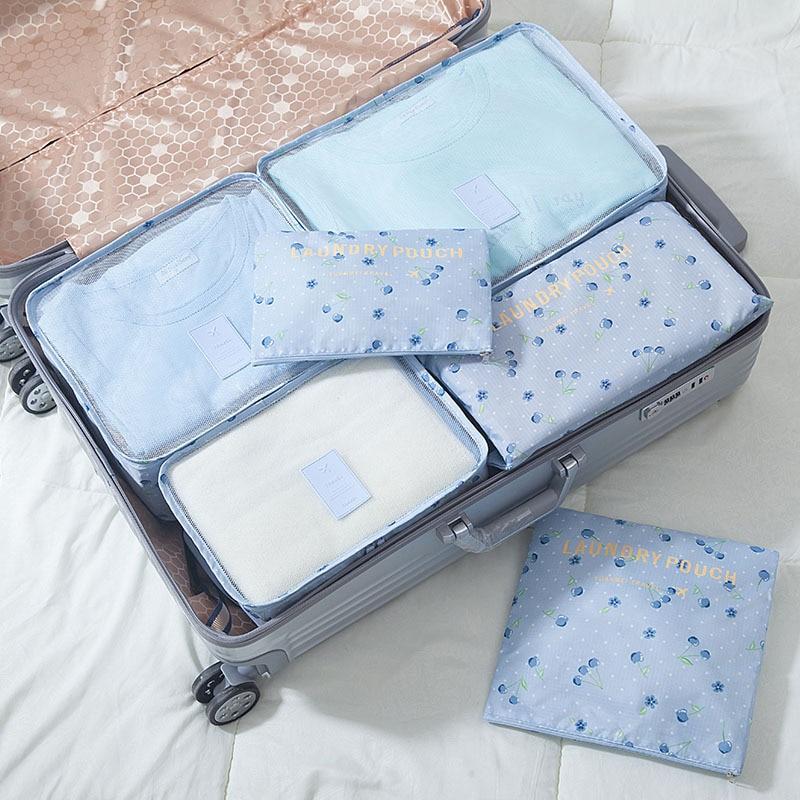 6pcs/set Fashion Nylon Packing Travel Bag Large Capacity Portable Clothing Shoes Sorting Storage Organize Bag Makeup Pouch