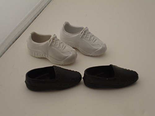 2 Pairs of Doll Footwear White Tennis Footwear and Black Loafers for Barbie Ken