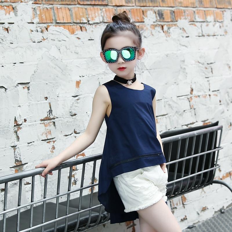 Irregular t-shirt girl summer 2019 new sleeveless long t-shirt teenage girl tops with tail toddler kids t-shirt vest clothing