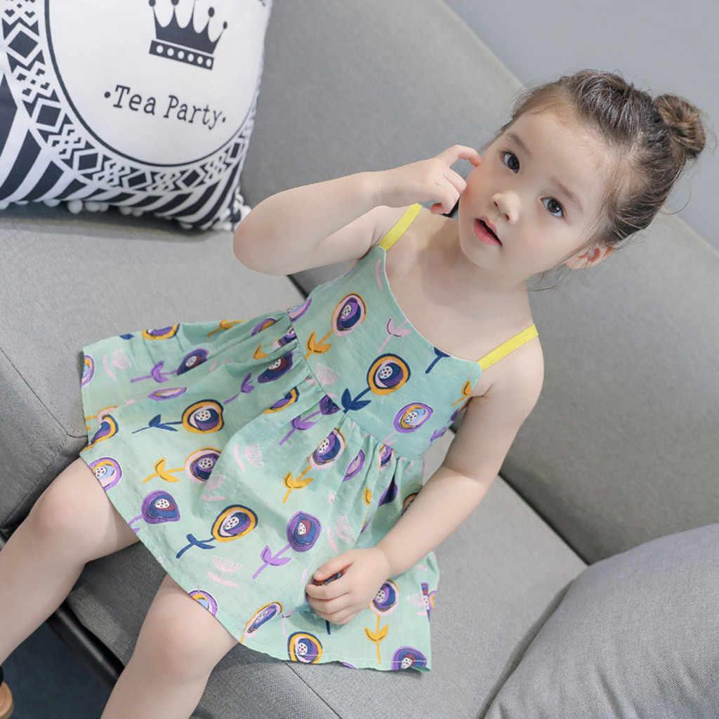 ARLONEET 2019 חדש קיץ תינוקת שמלת פעוט תינוקות תינוק בנות Cartoon פרחוני ללא שרוולים רצועת נסיכת שמלת תלבושות Z0207