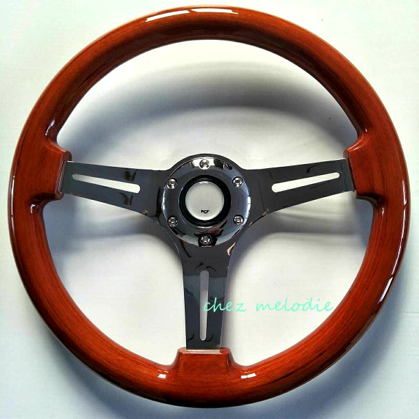 Handmade Universal 14inch 35cm vintage classic wood wooden auto car steering wheel with horn button