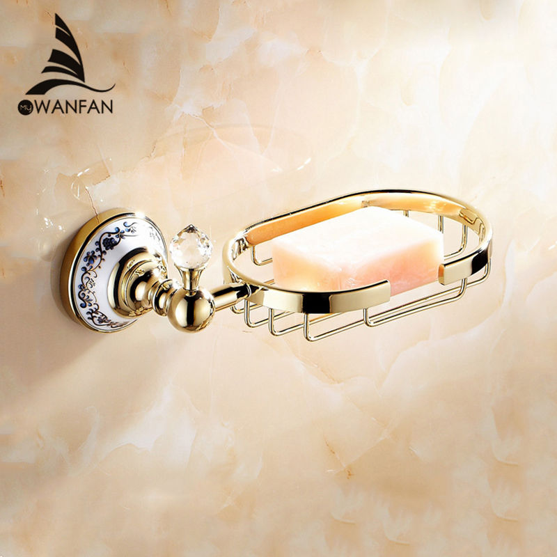 Soap Dishes Solid Brass Crystal Soap Basket Modern Home Decor Gold Bathroom Soap Dish Holder Bathroom Accessories Soap Box 6312 european style luxury bathroom ceramic soap dish solid copper crystal soap dish rack bathroom hardware accessories