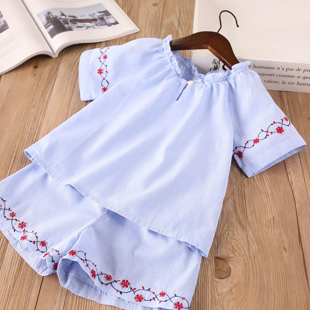 Hurave 2018 New baby Girl clothes Children O-neck short sleeve shirts+shorts 2pcs sets Kids Clothes embroidery solid suits letter print o neck collar short sleeve t shirts rose white shorts girl sets 2017 summer small kids new fashion for girls sets
