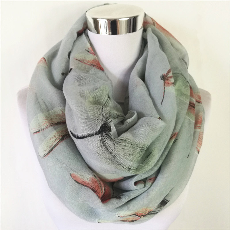 10pcs/lot New big dagonfly Infinity Scarf Animal Scarf hot sale women Scarves Loop Scarf in Tan Shawls circle scarf