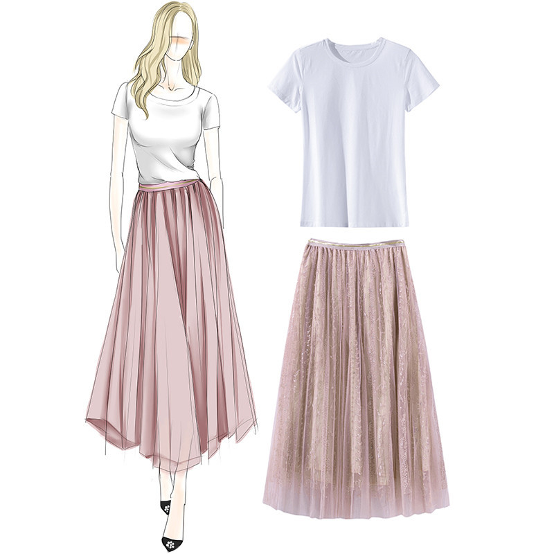 2018 Short In The Summer Of 931311 European 19 New Fashion Suits Female Cotton T + Net Yarn Drill Bead Skirt Outfit 1