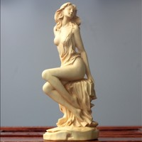 Boxwood carving Carving Crafts home decoration Beauty characters Goddess of Decoration sculpture statue Decorations
