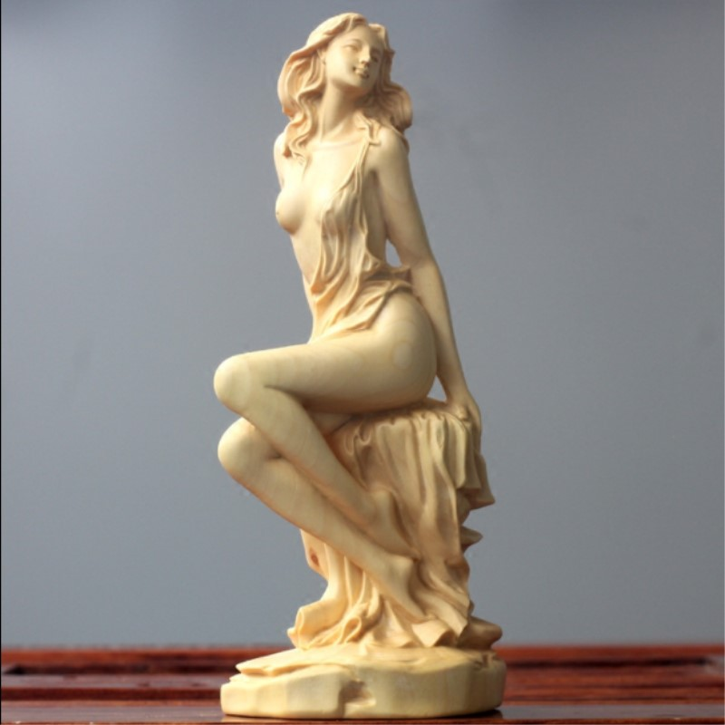 Buis sculpture sculpture Artisanat décoration de la maison Beauté caractères Déesse de Décoration sculpture statue Décorations