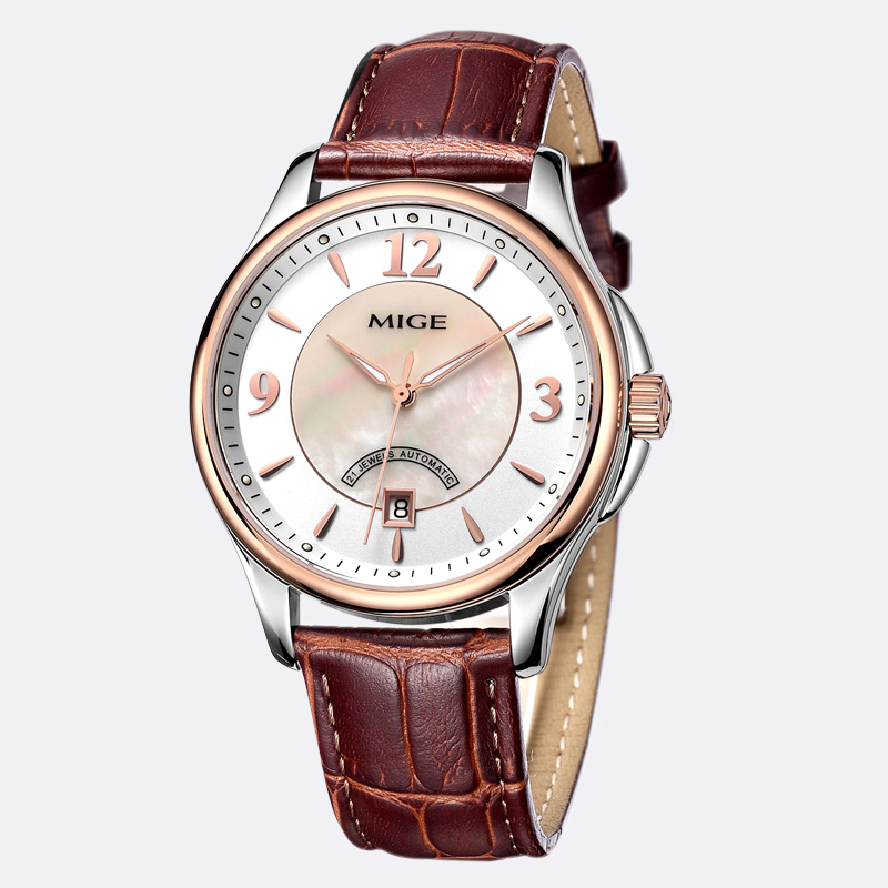2018 New Top Sale Luxury Brand Mige Skeleton Mechanical Man Watch Automatic Brown Black Leather Strap Waterproof Mans Watches mige 2017 real top brand luxury hot sale automatic mens watches skeleton gold case black dial waterproof man mechanical watch