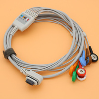 3pcs Holter ECG EKG 7 lead 3 channel cable and electrode leadwire,2008594 004 GE seer light holter ecg cable,AHA/snap electrode.